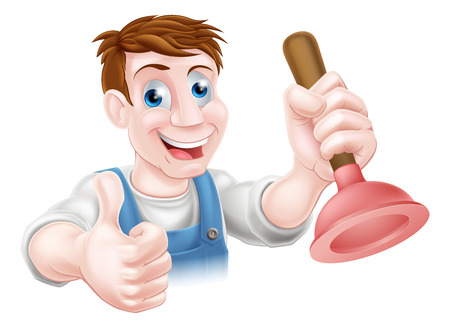 cartoon toilet: Cartoon handyman or plumber holding a sink or toilet plunger and doing a thumbs up