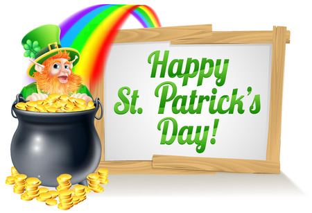 A St Patricks Day sign Happy reading St Patricks Day with a Leprechaun hat with shamrock four leaf clover and full of gold coins at the end of the rainbow Vector