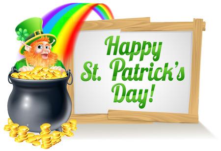 the end of a rainbow: Un signo St Patricks Day feliz leyendo D�a de San Patricio con un sombrero de duende con el tr�bol de cuatro hojas de tr�bol y lleno de monedas de oro al final del arco iris