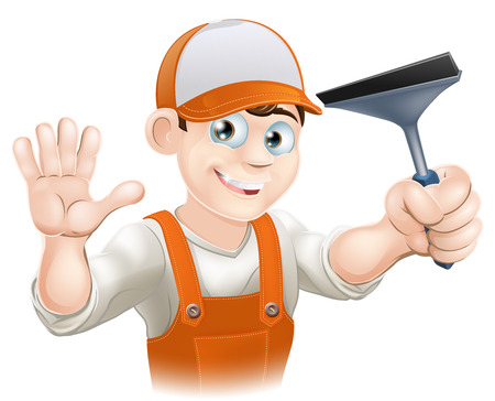 personal de limpieza: Un limpiador de ventanas que agita con una herramienta de limpieza de ventanas Enjugador