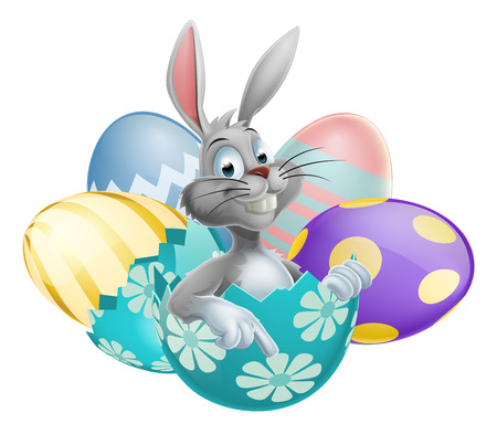 rabbit: Giant Easter eggs with a pointing happy cute cartoon White Easter Bunny