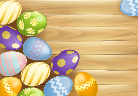 An Easter eggs background illustration of chocolate Easter eggs on a wooden table or board sign Vector