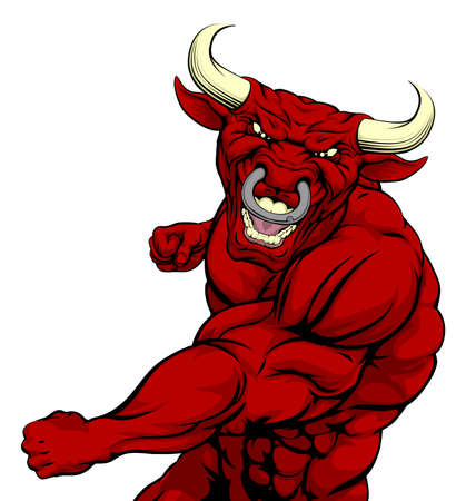 fighting bulls: Tough mean muscular red bull character or sports mascot in a fight punching with fist