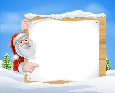 behind the scenes: Christmas Cartoon Santa Sign of Santa Claus pointing at a Christmas message