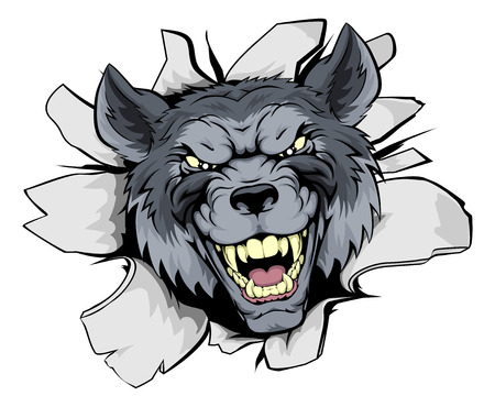 A mean looking wolf mascot character breaking out through a wall Illustration