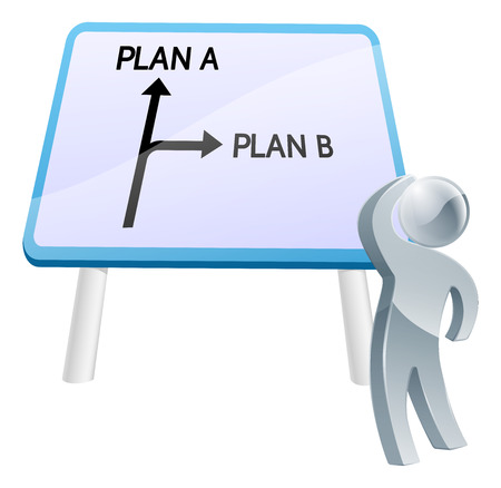 A man looking up at a direction road sign with the words plan a and plan b on it