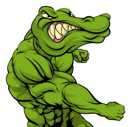 crocodile: Cocodrilo o cocodrilo o mascota luchando perforación en el espectador con el puño cerrado