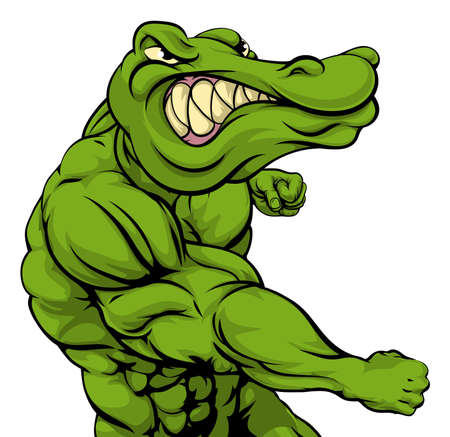 alligator: Crocodile or alligator or mascot fighting punching at the viewer with fist clenched