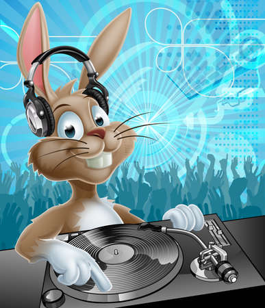 A cartoon Easter Bunny DJ with headphones on at the record decks with party dancing crowd in the background