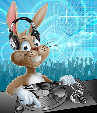 audifonos dj: Un dibujo animado del conejito Pascua DJ con los auriculares en las cubiertas de registro con multitud de baile fiesta en el fondo Vectores