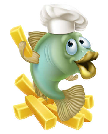 fry: An illustration of a cartoon chef fish character holding a French fry or chip, fish and chips concept.