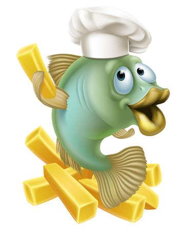peces: Una ilustraci�n de un personaje de dibujos animados cocinero peces celebraci�n de una fritura o chip franc�s, pescado y patatas fritas concepto.