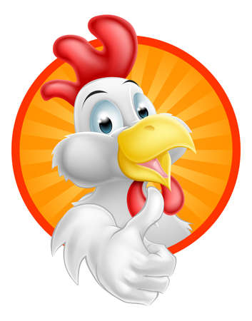 manos logo: Un feliz divertido del pollo del gallo de dibujos animados con un pulgar hacia arriba Vectores