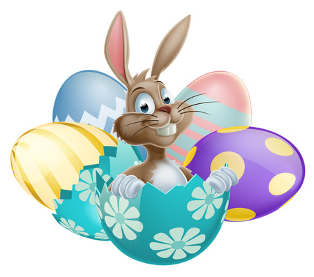 egg cartoon: Conejo de conejo de Pascua con huevos de Pascua de chocolate