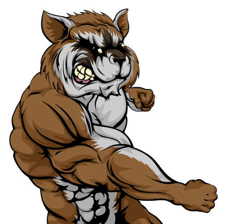 A mean looking raccoon sports mascot fighting and punching with fist