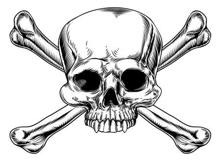 sceleton: Skull and crossed bones drawing in a vintage woodcut style