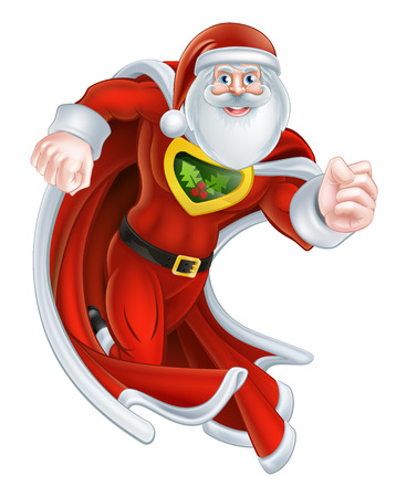 weihnachtsmann lustig: Karikatur-Weihnachtsmann-Weihnachtssuperhelden-Charakter mit Umhang Illustration