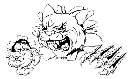 wildcat: A wildcat or cougar sports mascot ripping through the background Illustration