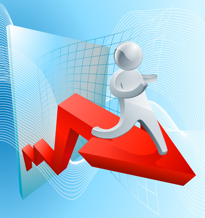 share market: Confidence increasing profit concept of a businessman on a red arrow showing growth in business or share market