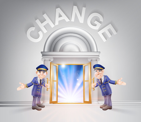 Change concept of a doormen hoding open a door to change with light streaming through it. Illustration