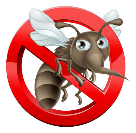 A no mosquitoes illustration of a cartoon mosquito in red circle stop sign Vector
