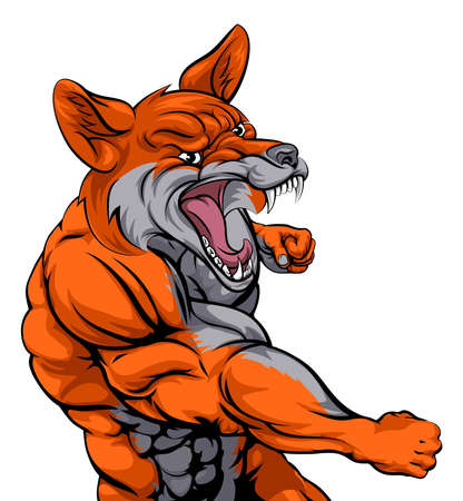 snarling: An illustration of a fox animal sports mascot cartoon character fighting