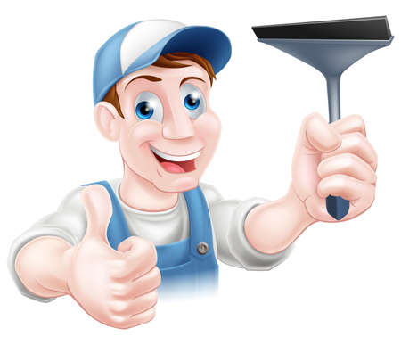squeegee: A cartoon window cleaner holding a squeegee and giving a thumbs up Illustration