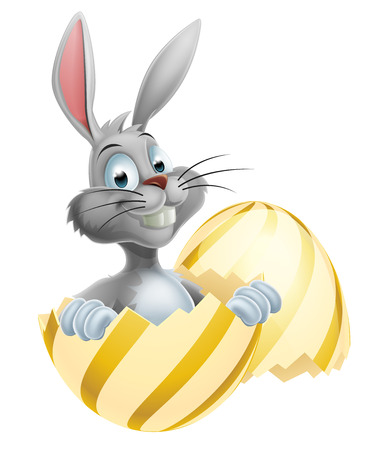 buny: An illustration of a happy cute cartoon White Easter Bunny in Easter Egg