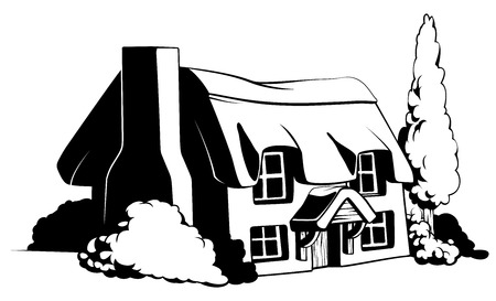 black and white image: Country cottage illustration of a cute country or farem cottage house