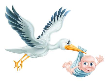 En illustration av en flygande tecknad stork som levererar en nyfödd baby. Klassisk metafor för graviditet eller förlossning Illustration