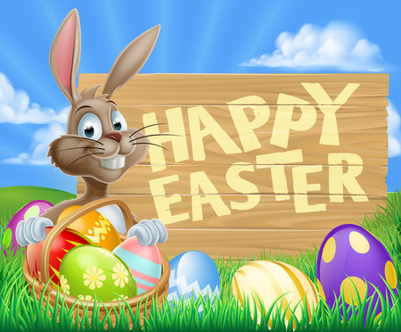 A cartoon Easter Bunny with a basket of Easter eggs next to a wooden sign Vector