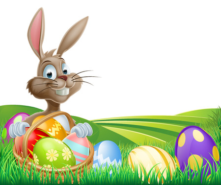 rolling hills: Cartoon Easter Bunny with a hamper of chocolate Easter eggs in a field with rolling hills