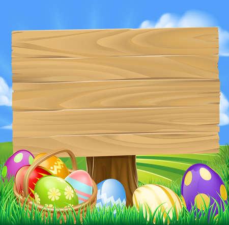 cartoon egg: Easter Egg Hunt Cartoon Sign with a basket of Easter eggs in rolling green hills Illustration
