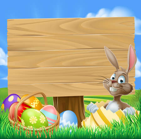 Easter Bunny Egg Hunt Sign with a cartoon Easter bunny and a basket of decorated chocolate Easter eggs Vector