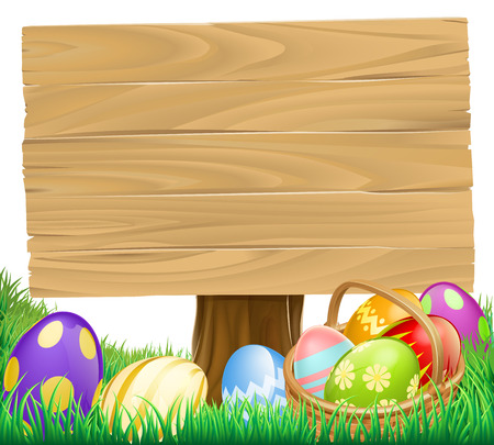 hamper: Wooden Easter Egg Sign with a basket hamper full of eggs Illustration