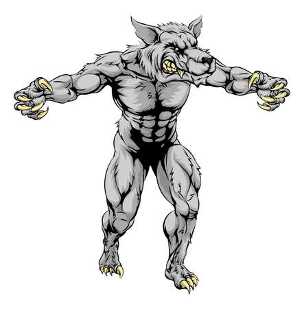 An illustration of a Werewolf wolf scary sports mascot with claws out Vector