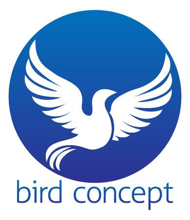 dove flying: An abstract illustration of a white bird or dove circular design