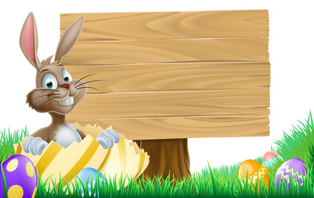 Cartoon wooden Easter sign concept with an Easter Bunny inside an Easter egg pointing at a wooden sign Vector