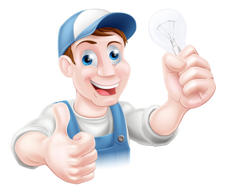 An electrician or handy man giving a thumbs up and holding a light bulb
