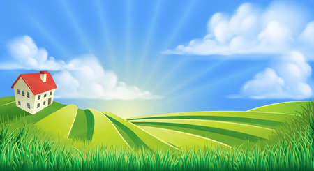 country farm: A rolling hills fields farm sunrise background cartoon illustration
