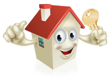 house sale: A cartoon house character mascot holding a key. Concept for buying a new home, real estate or similar
