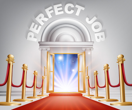 red and white: An illustration of a posh looking door with red carpet and Perfect Job above it. Concept for finding the right career Illustration