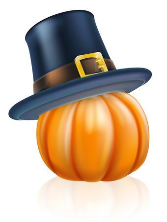 topped: Cartoon thanksgiving pumpkin wearing a pilgrim or puritan flat topped hat on top Illustration