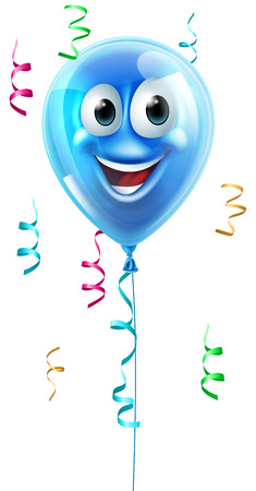 A happy cute blue party balloon cartoon character Vector