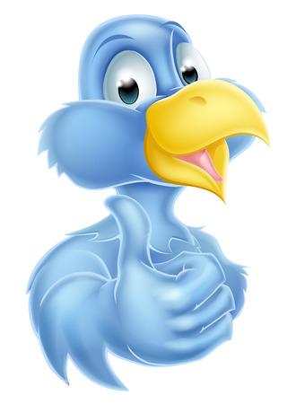 bluebird: Bluebird blue bird cartoon mascot character giving a thumbs up Illustration