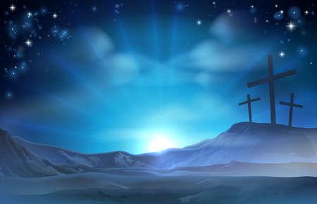 Eine christliche Ostern-Illustration der drei Kreuze auf einem Hügel