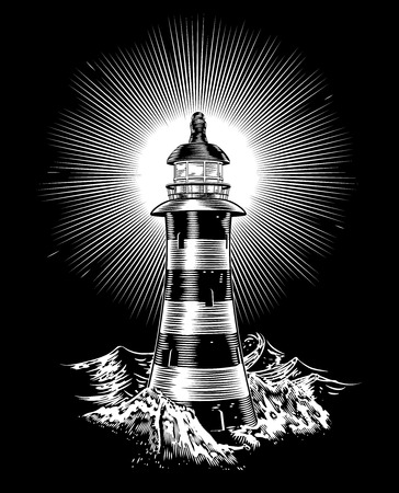 beams: An illustration of a black and white monochrome lighthouse