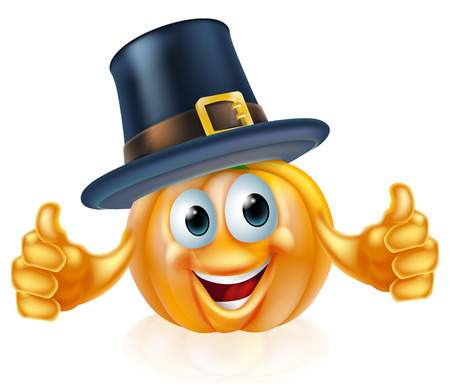 pilgrim hat: A cartoon thanksgiving pilgrim hat pumpkin man mascot character Illustration