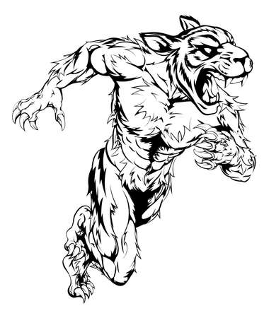 A tiger man character or sports mascot charging, sprinting or running Illustration