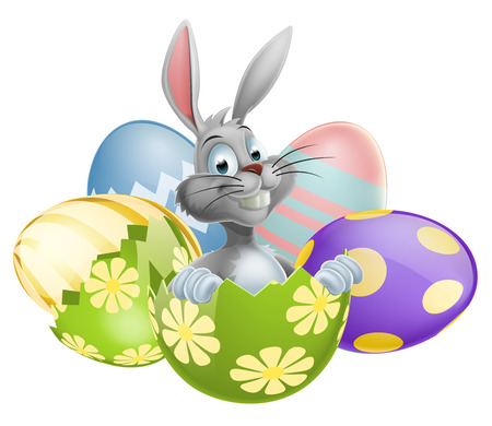 rabit: An illustration of a happy cute cartoon White Easter Bunny in Easter Egg